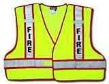 MCR Safety PSV304A Polyester Mesh Fire Safety Vest with 3M Scotchlite 2-Inch Silver/Red Reflective Stripe, Fluorescent Lime by MCR Safety