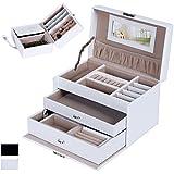 Songmics Boîte à bijoux Mallette/ coffrets/ boîte à maquillage, bijoux et cosmétique beauty Case blanc - JBC126W