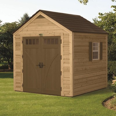 Suncast wood resin 8 foot by 8 foot by 8 foot hybrid shed for Cheap large garden sheds