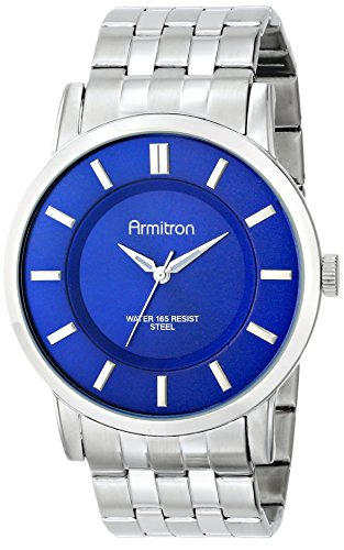 Para hombre Armitron 20/4962blsv esfera azul plateado-tono reloj de pulsera