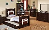 4pc Twin Size Bedroom Set with Football Design in Espresso Finish