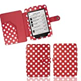 Xtra-Funky Exclusive Polka Dot PU Leather Book Wallet Style Case for Kobo Touch eReader - RED