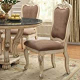 Bobkona Dining Chair in Light Brown Microfiber/Whitewash Finish