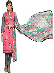 ZHot Fashion Women's Embroidered Un-stitched Dress Material In Cotton Fabric (ZHDM1019) Pink
