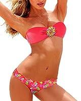 Zeeton Trikini Maillot de Bain Femme Bikini 2 pièces push up Bandeau Avec Cristal