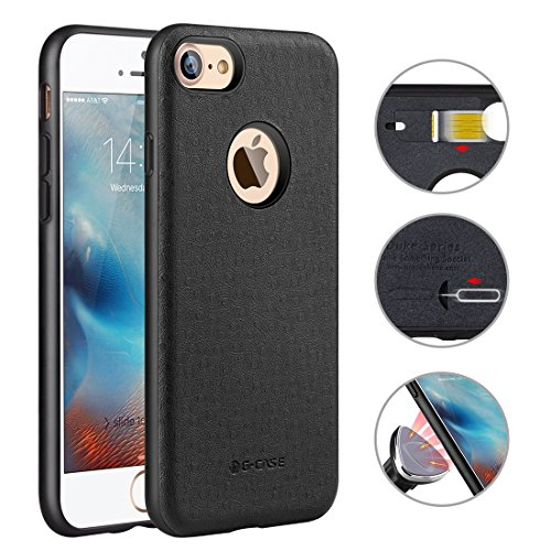 iPhone 7 PU Case, G-CASE® [Duke] Ultra Slim Protective Premium PC+PU Leather Back Shell with Slot for Nano SIM Card+Ejector Pin Scratch Resistant Back Cover (iPhone 7-Black) (Hot Plate Cell Phone compare prices)