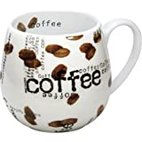 Konitz Coffee Collage Snuggle 14-Ounce Mugs, Set of 2, White