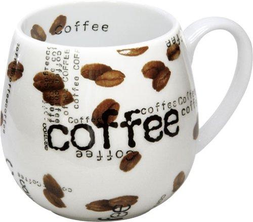 Konitz Coffee Collage Snuggle 14-Ounce Mugs, Set of 2, White