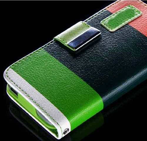 Mylife (Tm) Vegetable Colors Design - Textured Koskin Faux Leather (Card And Id Holder + Magnetic Detachable Closing) Slim Wallet For Iphone 5/5S (5G) 5Th Generation Itouch Smartphone By Apple (External Rugged Synthetic Leather With Magnetic Clip + Intern