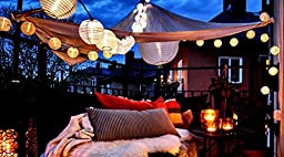 10 Warm White Chinese Nylon Lantern String Lights 10.86 Feet Long - Mini Oriental Round Globes Indoor / Outdoor Connectable and Expandable up to 162 Feet / 150 Lights By Qualizzi