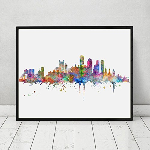 Boston Skyline Art Print Painting Inspirational City Skyline Wall Art Poster Boston Watercolor Art Decor No Frame AP149 (Boston Skyline Painting compare prices)