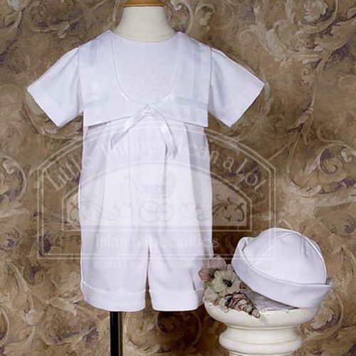 Baby Boys Size 6M Nautical Knicker Shamrock Embroidery Baptism Outfit