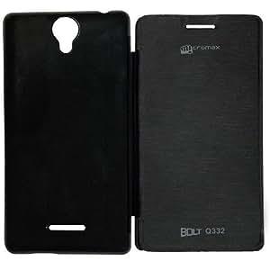 WebKreature Premium Flip Case Cover for Micromax Bolt Q332 (Black)