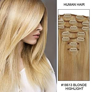 Hairup Clip in/on 16 Inches Indian Remy Human HairExtensions Blonde Highlight(#18/613) 7Pieces straight 70g