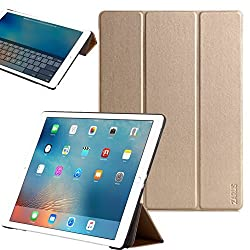 For iPad Air 2 [Premium Smart Slim Cover] For Apple [Stand Function] Full-body Protective Leather Case Zarus [Auto Wake / Sleep] Smart (Gold)
