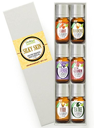 Essential Oil Set - Silky Skin Set 100% Pure, Best Therapeutic Grade Essential Oil Kit - 6/10mL (Carrot, Frankincense, French Lavender, Geranium, Myrrh, and Tea Tree)