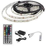 5M 5050 SMD 300 RGB LED Strip Light DC12V Waterproof+44 keys Remote+5A Power