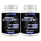 Get Vivid Health Nutrition High Performance Creatine (2 Bottles) - Highly Concentrated Pure Creatine Monohydrate. 180 Capsules each -image