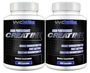 Vivid Health Nutrition High Performance Creatine (2 Bottles) - Highly Concentrated Pure Creatine Monohydrate. 180 Capsules each