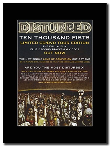 Disturbed-Ten Thousand Fists. Magazine Promo su un supporto, colore: nero