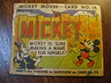 VINTAGE 1935 MICKEY MOUSE BUBBLE GUM CARD NO. 14 Mickey Is Sure Making A Name For Himself! Scarce 78 Year-Old Disney Collectible