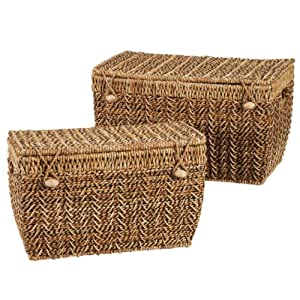 set of 2 nesting storage baskets with hinged. Black Bedroom Furniture Sets. Home Design Ideas