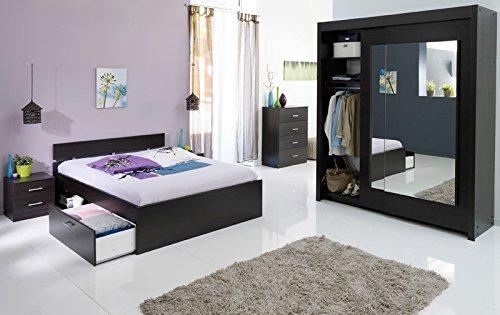 Jugendzimmer Inaco 211 kaffeefarben, Schlafzimmer 4-teilig, Schwebetürenschrank, Bett 140cm, Kommode, Nako online kaufen