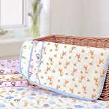 """Elf Star Cotton Bamboo Fiber Breathable Waterproof Underpads Mattress Pad Sheet Protector for Children or Adults, Elephant and Giraffe Print, 20""""X27"""""""