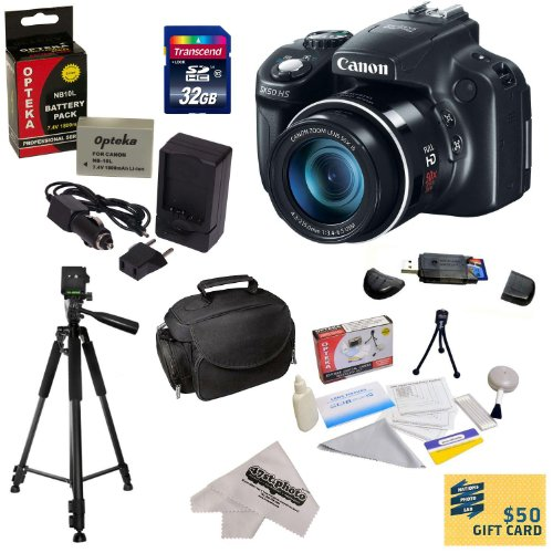 "Canon Powershot Sx50 Hs 12Mp Digital Camera With 2.8-Inch Lcd (Black) With Must Have Accessory Kit Includes 32Gb High-Speed Sdhc Card + Card Reader + Extended Life Battery + Rapid Charger + Deluxe Carrying Case + Professional 60"" Tripod + Lens Cleaning Ki"