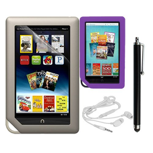 Skque Clear Screen Protector + Purple Soft Silicone Cover Case + Touch Screen Tablet/Smart Phone Stylus Pen(Black Body) + Earphone headset w/mic for Barnes&Noble Nook Color Ebook Reader