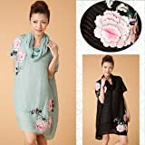 立体フラワー刺繍シルクシフォンワンピ&スリップインナー2点セット yimo15948