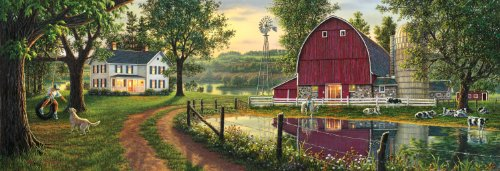 Masterpieces Puzzle Company The Road Home Panoramic Jigsaw Puzzle (1000-Piece), Art By Kim Norlien