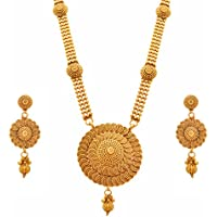 JFL - Traditional Ethnic One Gram Gold Plated Spiral Bead Designer Long Necklace Set for Girls and Women