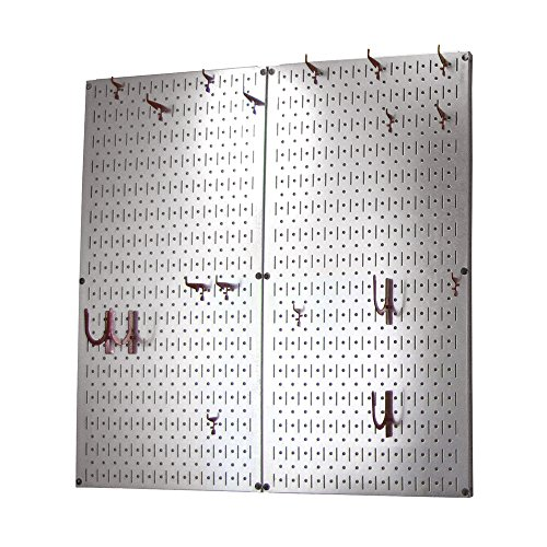 Wall Control Kitchen Pegboard Organizer Pots and Pans Pegboard Pack Storage and Organization Kit with Metallic Silver Pe