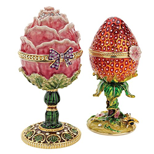 Design Toscano FH91689 Gardens Treasures Faberge Style Enameled Eggs, Set of 2