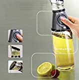 W·Z Oil and Vinegar Dispenser Salad Oil Bottle with Press and Measure Non spill Spout By Elemental Kitchen 17oz Size(Measure)