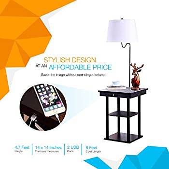 Brightech Madison LED Floor Lamp with Built-in Black Table and Shelf – Multi Purpose End Table with 2 USB Ports & US Standard Outlet – Modern Wood Lamp for Bedroom and Living Room - White Shade