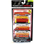 Jakks Pacific Year 2014 Series 7 Power City Trains 4 Pack Train Set Gold Rush Steam With Pioneer Mining Transporter...