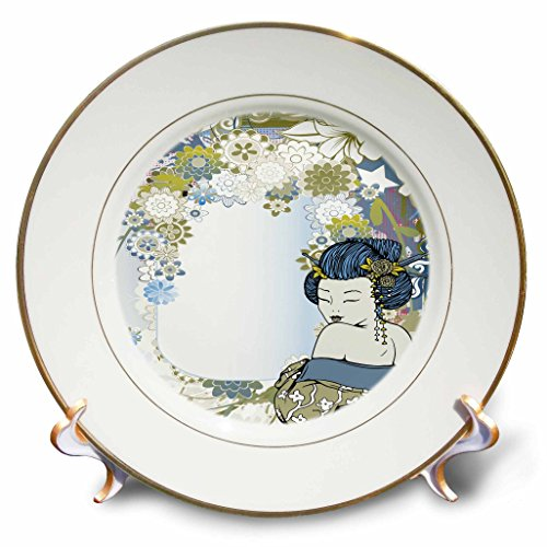 3dRose cp_119078_1 Modern Vector Art Muted Blues and Tans Flowers Asian Floral and Geisha Girl Woman Porcelain Plate, 8-Inch