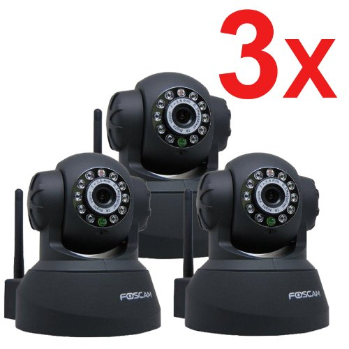 3 Pack Foscam New Version FI8918W Pan & Tilt Wireless IP Camera - Infrared Night Vision, 2 Way Audio, Motion Detection Email Alert, Black