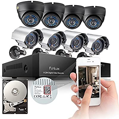 Funlux® 8CH 960H Network DVR 8 600TVL Outdoor Metal CCTV IR Surveillance Camera System with 4 Bullet & 4 Dome Security Cameras 1TB Hard Drive, P2P, QR-Code Connection