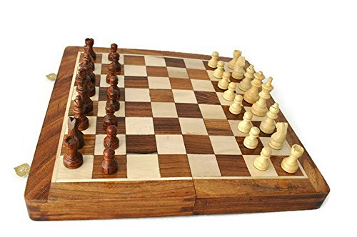 """StarZebra Chess Set - Wooden Magnetic Travel Chess Set with Staunton Pieces and Folding Game Board 12"""" Inch - Handmade By Artisans in India"""