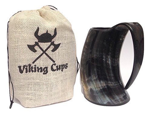 Viking Drinking Horn Mug by Viking Cups (22oz) - Genuine Medieval Mug- Perfectly Sealed Ox Tankard (Pollished) (Viking Drinking Cup compare prices)