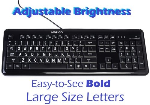 Ivation Full Size Multimedia Usb Backlit Led Lighted Keyboard W/White Led'S - Gentle, Crisp & Clear Led Light Illuminates Each Key, Eliminating Stress To Your Eyes - Compatible With All Windows And Mainframes