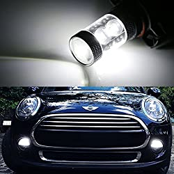 See iJDMTOY (2) 50W High Power CREE 5200s LED Bulbs For MINI Cooper F55 F56 Halogen Headlamp Trim For Daytime Running Lights, Xenon White Details