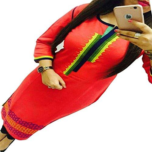 ZHot-Fahion-Womens-Embroidered-semi-stitched-Selfie-Kurti-In-Georgette-Fabric-ZHKRT1001Free-SizeOrange
