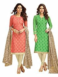 Subhash Sarees Daily Wear Salmon and Light Green Color Chanderi Jacquard Salwar Suit Dress Material 2 Top, 1 Bottom, 1 Dupatta