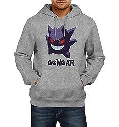Fanideaz Men's Cotton Gengar Pokemon Hoodies For Men (Premium Sweatshirt)_Grey Melange_M