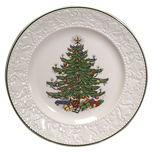 Cuthberston Original Christmas Tree Dickens Embossed, Dinner Plate Round, 11.25