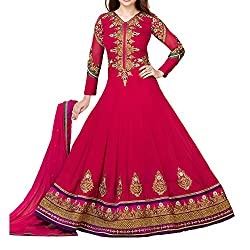 Fabtantra Womens Georgette Anarkali Dress Material (10116 -Pink -Free Size)